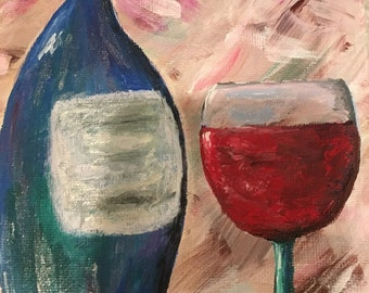 Red Vino; acrylic painting, wine painting, canvas art