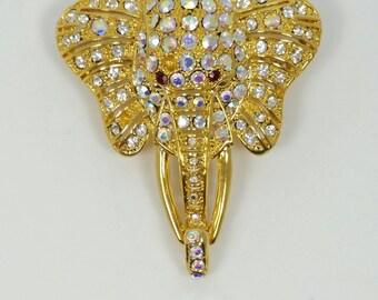 Elephant Brooch Gold Tone With Rhinestones