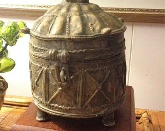 Antique Heavy Bronze Dhokra Betel Nut or Trinket Tribal Indian Box