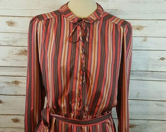 80's Striped day dress, Medium/Large