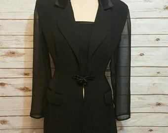 Vintage, 1980's, Joseph Ribkoff black avant-garde blazer, sheer sleeves, cage detail, Medium