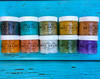 Bath Salt Sampler 10 Variety ALL NATURAL Bath Salts with Organic Ingredients