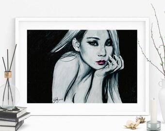 CL 2ne1 Kpop Asian Beauty Portrait Drawing Art Print