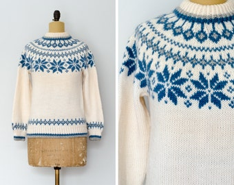 Vintage Dale of Norway Snowflake Sweater // Made in Norway - Women's XS