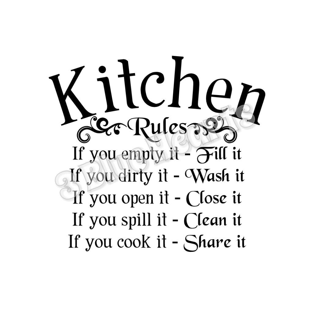 Kiss The Cook Kitchen Decor Kitchen Rules Etsy