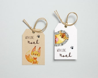 Personalized Kids Gift, Thank you, Favor Tags - Forest Animals