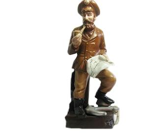 """Ceramic Sea Captain Nautical Figurine Coastal Decor 14"""" Tall Statue"""