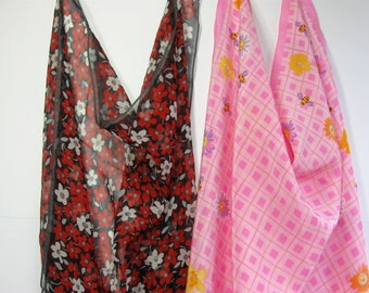 Lot of 2 Ladies Silk Scarf/ Scarves, Elaine Gold, Echo, Red Pink Floral 21 inch square
