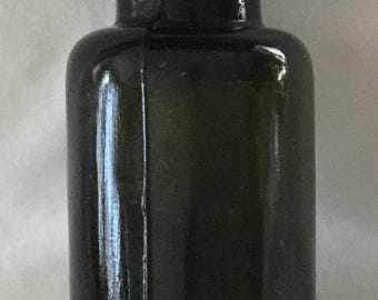 Antique Olive Green Glass Bixby Bottle