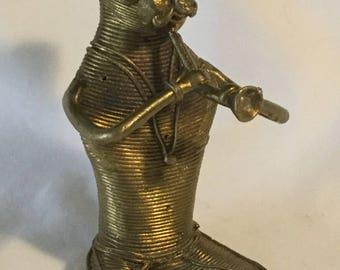 Vintage Brass Wire Artisan Snake Charmer Figurine