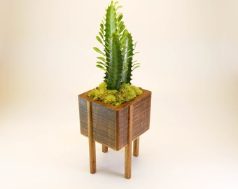 Bamboo Planter With Stand, Planter with Stand, Succulent Planter, Cactus Planter, Indoor Planter, Wood Planter, Wood Home Decor,  Succulent