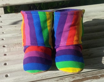 18-24m ~ Rainbow Stripes ~ Schnookie's High Top Soft Soled Shoes