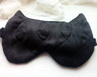 Satin Black Cat Sleep Mask Eye Pillow Unisex Gift Cat underwear Cat sleepmask Cute Eye cover, Night mask, Wedding Lingerie, Bridesmaid gifts