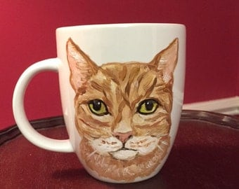 Small Yellow Tabby Cat Mug, hand painted glassware by Ana Peralta
