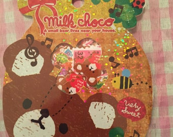 Q-lia Milk Choco Bear kawaii sticker sack