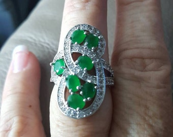 Emerald Gemstone and CZ Ring - size 7.5!