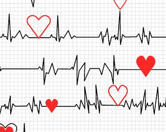 Heartbeat Fabric, EKG Fabric, by the yard or Fat Quarter, FQ, Scrubs Fabric, Doctor Fabric, Heart with Heart Beat, Novelty Fabric, Quilting