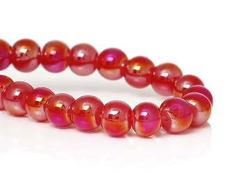 """Full 31.5"""" Strand 6mm Glass Beads Red AB (B175a)"""