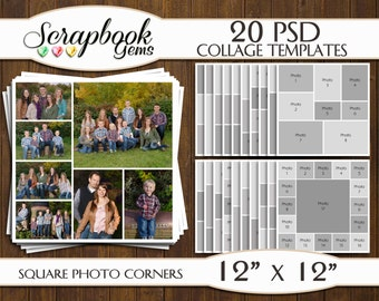 "TWENTY (20) 12"" x 12"" Digital Photo Collages / Storyboard Templates, PSD Format, Photo Scrapbook Template Collage"
