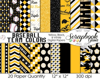 """Baseball Digital Papers Yellow, White, & Black, 20 Pieces, 12"""" x 12"""", High Quality JPEG files Instant Download Commercial Use Sports Glitter"""