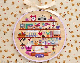 Cute Craft Sewing Art Room Cross Stitch Pattern PDF | Cute Room Cross Stitch Series | Easy | Modern | Beginners Counted Cross Stitch Pattern