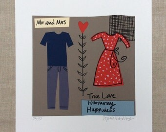 Mr and Mrs screenprint