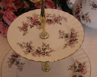 Royal Albert Lavender Rose Serving Plate with Handle, 2 Tier TidBit Tray 1960s First Quality