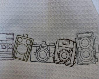 Vintage Camera Waffle Weave Towel, Embroidered Towel, Kitchen Towel, Embroidered Camera, Camera Towel, Vintage Camera, Camera Sketch