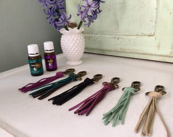 Essential Oil Keychain Diffuser    Car Air Freshener    Multiple Color and Solids    Real Suede Tassel Accessory    Aromatherapy