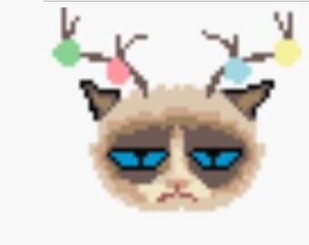 Antler Christmas Angry Cat Fan Art Perler Bead Sprite Pixel Pattern Instant Digital Download Grumpy Kitty