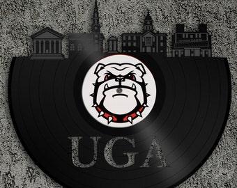 Georgia Bulldogs UGA - Athens Skyline, Georgia Bulldogs Art, Wall Art Vinyl Record, Home Decor, UGA Gift, Vinyl Wall Decal, Athens Art Decor