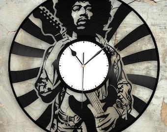 Hippie Jimi Hendrix Clock, Unique Wall Clock, Retro Clock, Gift For Him, Vinyl Record Clock, Collector Gift, Mens Cave Decoration, Vinyl Art
