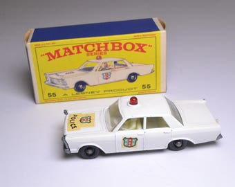Collectible Matchbox Cars, Number 55 Police Car With Box, Vintage Metal Toys, Matchbox Collectible Cars From The 1960's, Old Metal Toys