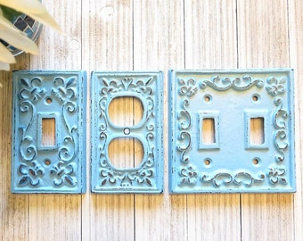 Light Switch Cover - Shabby Chic Light Switch Cover - Double Light Switch Cover - Outlet Cover - Outlet Cover Switch Plate - Nursery Decor