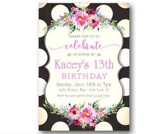 Teen Girls Birthday Invitations 13th Birthday Invitation
