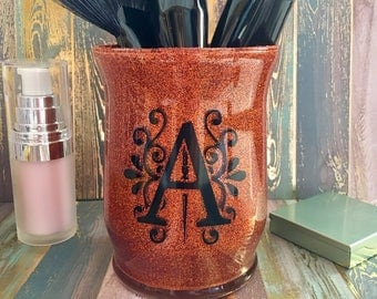"""Makeup Brush Cup, Glitter Makeup Brush Holder Cup, """"CAPITAL"""" Letter Brush Cup Holder, Makeup Lovers Gift, All Letters Available"""