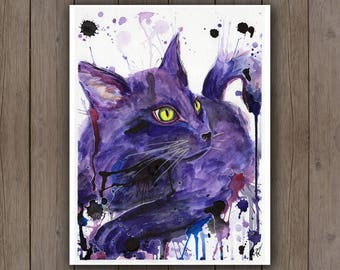Watercolour Art Print - Black Cat Portrait / Purple Cat / Pet Portrait Surreal Splatter Handpainted Watercolor Painting / Gift Ideas