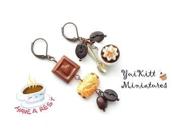 Sweet Coffee-Chocolate Earrings/ Food Jewelry/ Food Earrings/ Coffee Beans,Cup of Coffee,Chocolate Miniature/ Chocolate Lover/ Coffee Lover