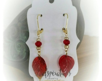 Glass Leaf Earrings in Translucent Red Ruby