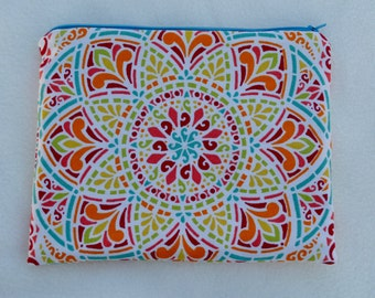 Makeup Bag, Cosmetic Bag, Zippered Pouch Large, Blue/Multi