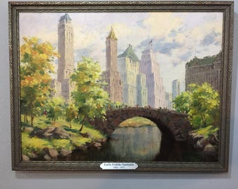 NY City Central Park at 59th St. Oil on Artist Board, Mid Century Vintage Oil Painting, Plaza Hotel, 5th Ave., American Flag, Art Deco Frame
