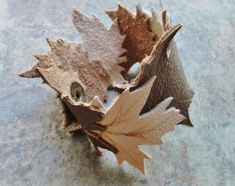 Leather Cuff Maple Leaf Bracelet, Handcrafted Leather Jewelry