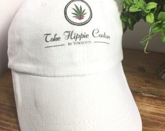 Ball Cap Toke Hippie Couture, White Ball Cap,Cotton Ball Cap