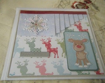 14.5x14.5 Squard Christmas Card. with Reindeer Backing paper