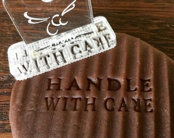 Handle With Care Ceramics and Pottery Stamp, Make Your Mark, , Identify Your Work,