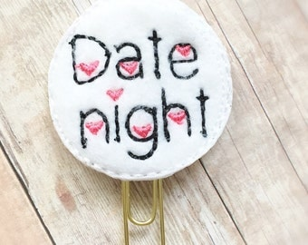 Date Night Planner Clip - Hearts - Planner Accessories - Monthly Planner - Bookmark - Paper Clip