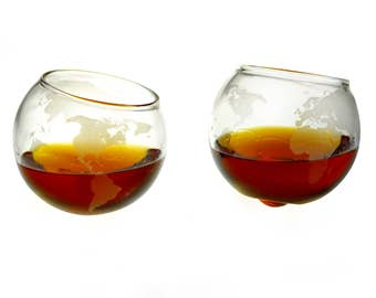 Etched Spinning/Rocking Globe Whiskey Glasses (Set of Two)