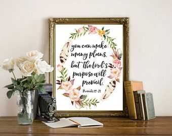 bible verse wall art You can make many plans Proverbs 19:21 scripture art print bible framed quote home decor office decor living room