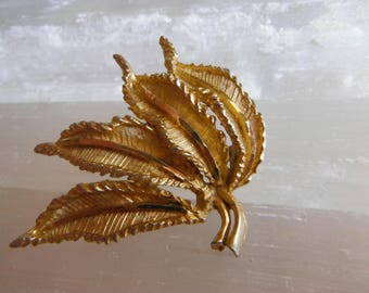 Textured Goldtone Abstract Leaf Brooch