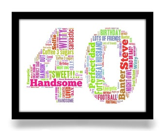 40th Birthday gift personalised word art A4 gloss print. Birthday age number created from your simple list of around 20 words.